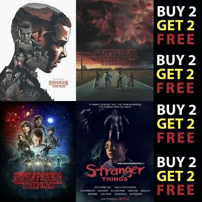 STRANGER THINGS POSTERS TV SERIES SHOW ART DECOR A4 A3 300gsm Card/Metal Plaque