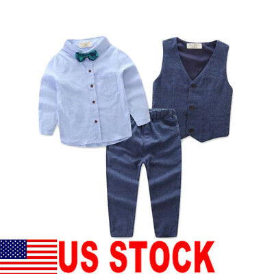 Baby Page Boy Christening Formal*Wedding*Tuxedo 3pcs Suit in Detached Cravat