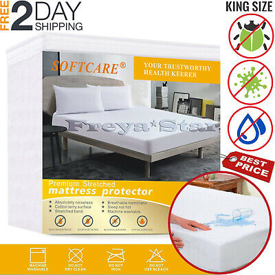 Mattress Cover Protector Waterproof Pad Cal King Size Bed Cover