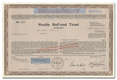 Realty ReFund Trust Stock Certificate (Alfred Lerner, Cleveland Browns)