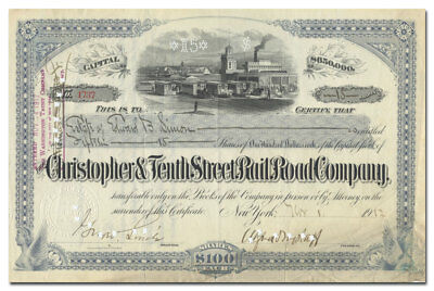 Christopher & Tenth Street Rail Road Company Stock Certificate (NYC)