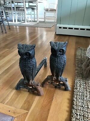 Vintage Set Cast Iron Owl Fireplace Andirons w Glass Eyes