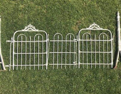 ANTIQUE Vintage Victorian wrought iron fence garden gate single bed heads white