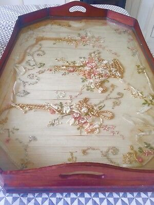 Large Antique Wooden Tray with Embroidered Silk Ribbon Panel Under Glass