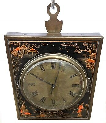 Lovely Chinoiserie Strut Easel Wall Clock With Wooden Frame Working Pocket Watch
