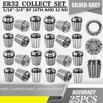 """ER32 COLLET 25PC SET 1/16""""-3/4"""" by 16th and 32nd ACCURATE NEW AP"""