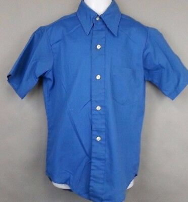 Vtg Original Authentic Boys 70s 80s Shirt Top Sears Perma Prest Blue Size 12