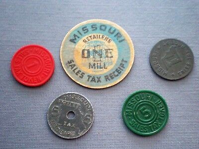Tokens - Missouri Tax- Lot Of Five Pieces  From Ginny's Sock Drawer
