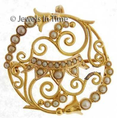 18K Yellow Gold Seed Pearl Brooch