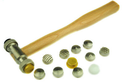 Texturing Embossing Hammer, 13 Interchangeable Design Heads, Wood Handle. J1313