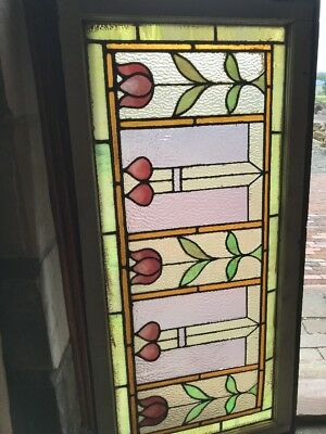Sg 2480 Antique Stainglass transom window tulips 23.75 high by 48W