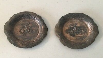 Vintage Lot Of Two Collectible Copper? Metal Engraved Cowboy Ashtrays Western