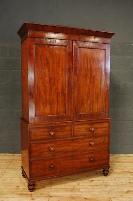 Antique Victorian 19th Century Mahogany Linen Press Wardrobe