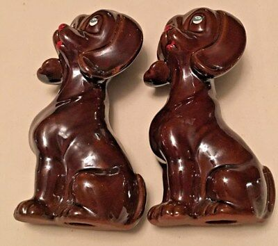 Redwear MIJ Pottery Dachshund Dog Brown Adoring Eyes Pair of Vintage Ceramic  5""