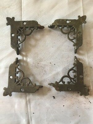 Set Of 4 Antique Eastlake Victorian Cast Iron Window Screen Corners