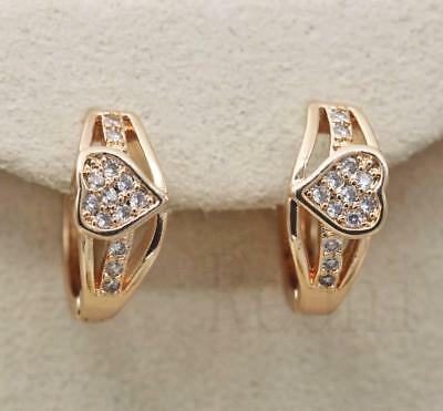 18K Gold Filled - Hollow Sweet Heart Crown Round White Topaz Party Hoop Earrings