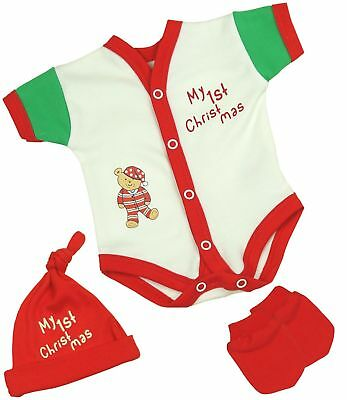 BabyPrem Premature Tiny Baby Clothes Red Christmas NICU Vest Mittens & Hat Set