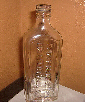 Antique Furst-McNess Co. Freeport, Ill. U.S.A. Medicine Bottle with tin lid