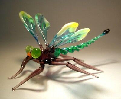 """Blown Glass """"Murano"""" Figurine Gorgeous Green and Yellow DRAGONFLY"""