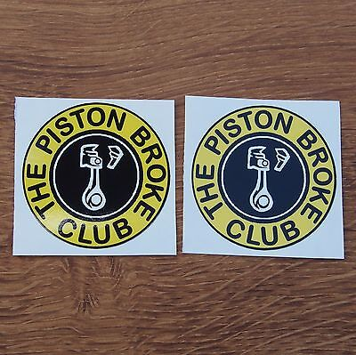 Two Motorcycle Biker Helmet Tank Cafe Racer Stickers PISTON BROKE CLUB Rockers