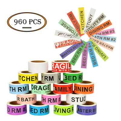 16 Rolls Home Moving Organise Stickers Colored Labels Packing Message Classify