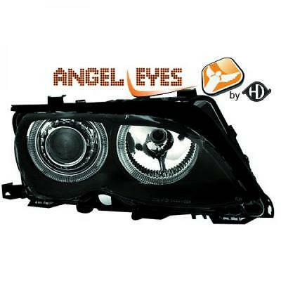 Fits BMW 3 Series E46 Touring 01-05 - RHD LHD Projector Headlights Pair Angel Ey