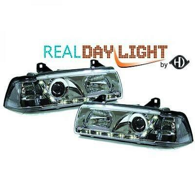 Fits BMW 3 Series E36 90-99 - LHD Projector LED DRL Headlights Pair Clear Chrome