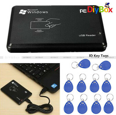 125Khz EM4100 USB RFID ID Card Reader Proximity + Cable IC Key Tags Keyfobs PC