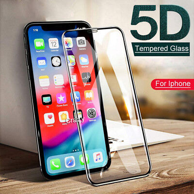 5D Apple iPhone X XS Max XR 6 6S 7 Full Coverage Tempered Glass Screen Protector