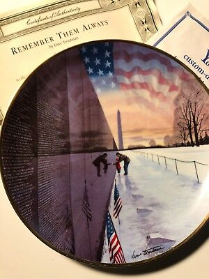 Franklin Mint Vietnam Memorial Wall Remember Them Always Collector Plate Limited