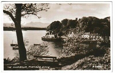 A Vintage RPPC Postcard: The HARBOUR, PORTREE, Isle of SKYE, Herbrides.
