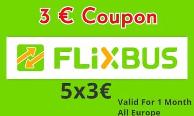 5x3€ flixbus Discount crédits code  - Fast 1h SHIPPING - Discount bus