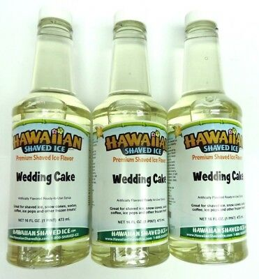 Lot of 3 Hawaiian Shaved Ice Wedding Cake Flavor Snow Cone Syrup 1 Pint/16ounces