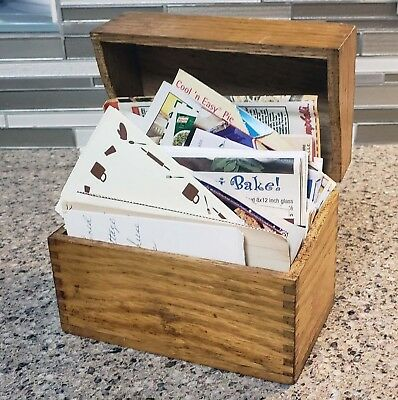 Old Dovetail Wood Recipe Box & Recipes Handwritten Magazine Cutouts File Cards