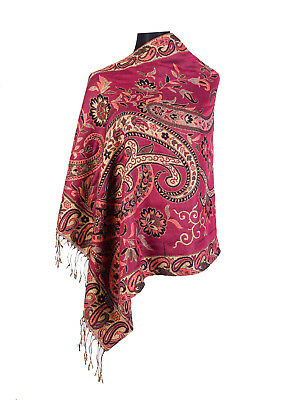 Look Effect Pashmina Scarf Shawl With Paisley & Flowers Design Pm3292