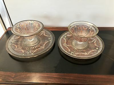 Two 1920 - 1940 Art Deco Hand Painted  Compotes With Underplates