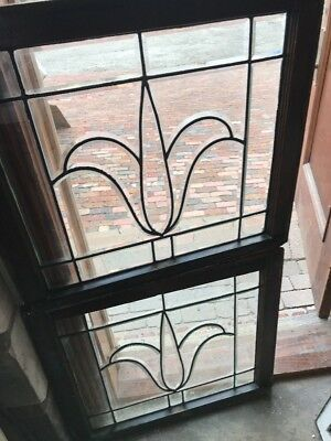 SG 2500 matched pair of antique all beveled glass tulip windows 28.5 x 25.5 H