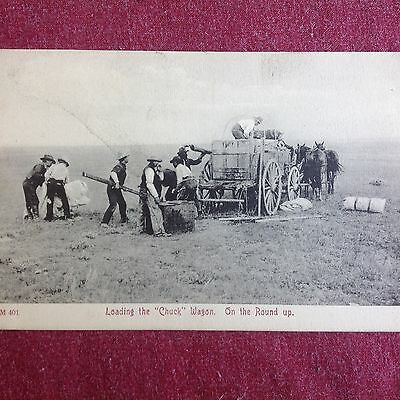 """Early Black And White Postcard Showing """"chuck"""" Wagon - ?studebaker"""