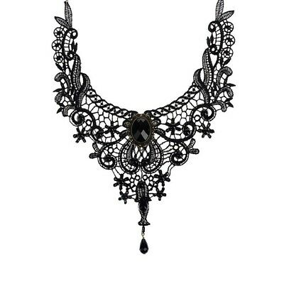Lace Gothic Collar Victorian Steampunk Style Pendant Chain Choker Necklace Black