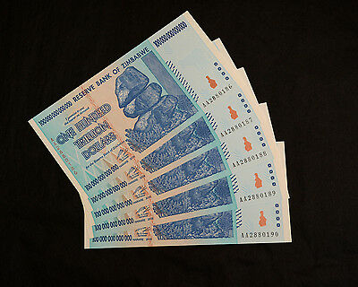 THREE Z$100 Trillion Zimbabwe banknotes Uncirculated, Excellent, Perfect