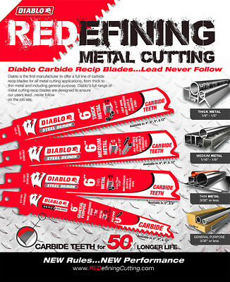 """DIABLO STEEL DEMON 12"""" Carbide Reciprocating Saw Blade for Thick Metal Cutting"""