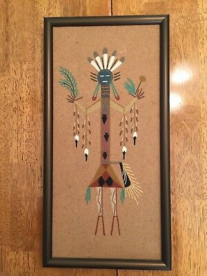 Navajo Sand Painting Black Bean People on wood  signed by David Peters No Reserv