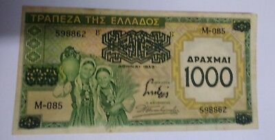 1939 Greece 1000 Drachmai on 100 Drachmai Banknote