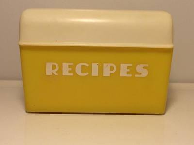 Vintage Yellow Lustro ware recipe box with original cards inside  made in USA