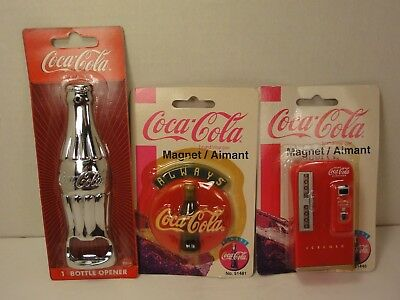 Lot 3 Coca Cola Magnets,  Coca Cola Dispenser #51446, Coca Cola Sign #51481, Ope