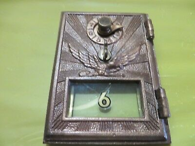 ANTIQUE VINTAGE BRASS US Post Office Box Door/Single Dial w Eagle Glass Window