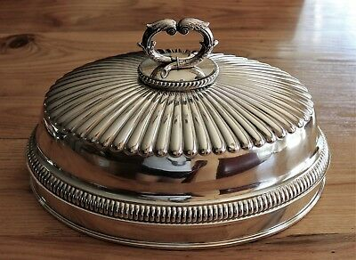 Antique 19th C. Sheffield T.& J. Creswick Silverplated large Turkey Meat Dome