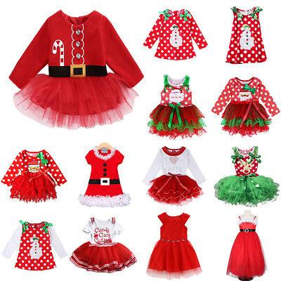Christmas Dress Up Baby Kid Girl Santa Claus Tulle Reindeer Xmas Party Costume