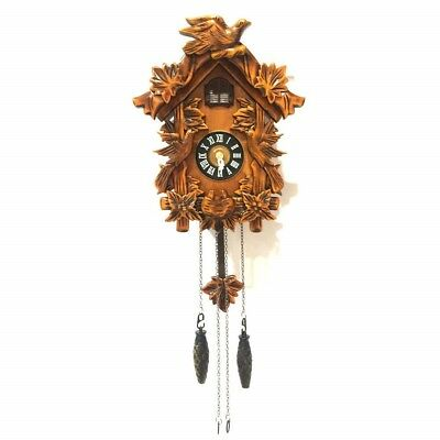 ALEKO Handcrafted Wooden Cuckoo Wall Clock with Chirping Bird 10.5 x 9 x 5 in