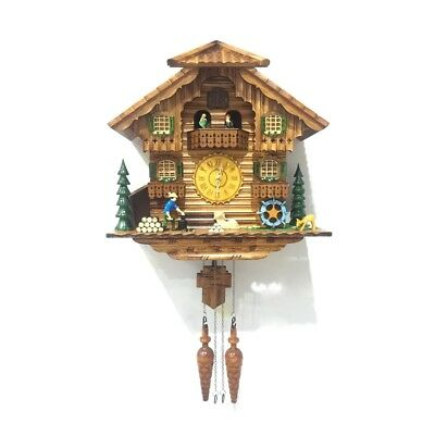 ALEKO Handcrafted Wooden Cuckoo Clock with Chirping Bird and Dancing Townsfolk